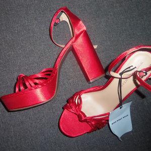ba52b30bedda1 Who What Wear Shoes | Ella Satin Knot Platform Heels | Poshmark